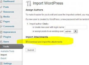 wordpress import media files